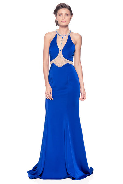 Halter Neck Sleeveless Trumpet Evening Dress - Prom And Bridal Dress House