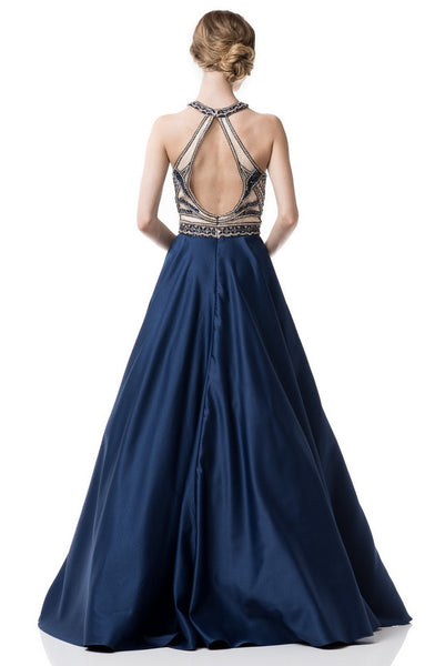 Halter Neck  Sleeveless Prom Evening Long Dress