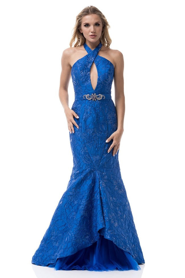 Halter Neck Sleeveless Backless Mermaid Evening Dress - Prom And Bridal Dress House