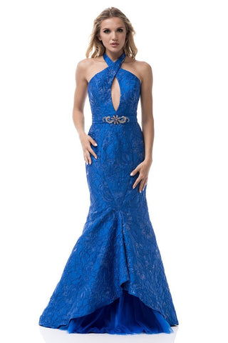 Halter Neck Sleeveless Backless Mermaid Evening Dress