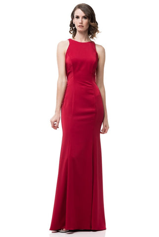 Sleeveless Scoop Neck Evening Dress