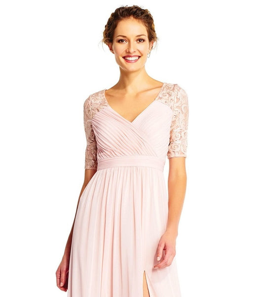 Adrianna Papell V-Neck Pleated Short Sleeve Dress - Prom And Bridal Dress House