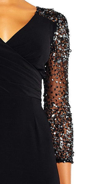 Adrianna Papell V-Neck Sequined Long Sleeve Zipper Back Dress - Prom And Bridal Dress House