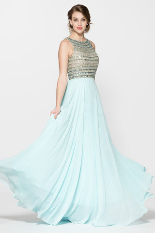 Sleeveless Backless Aqua Evening Long dress