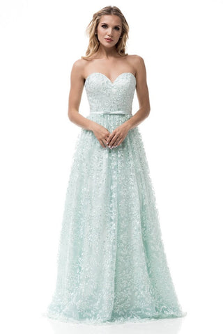 Strapless A-Line Mint Evening Dress