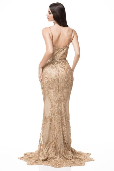 AG Studio Embrroidered Sheath Long Evening Dress - Prom And Bridal Dress House