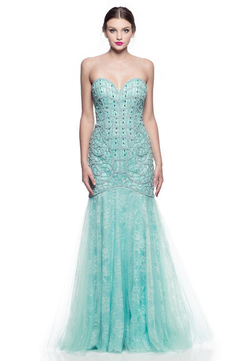 Prom Evening Beading Long Lace Dress - Prom And Bridal Dress House