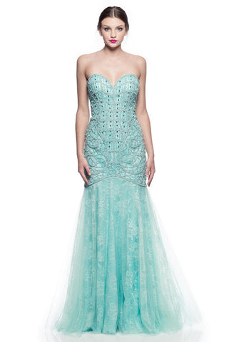 Prom Evening Party Beading Long Lace Dress - Prom And Bridal Dress House