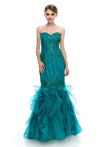 Stunning Emerald Long Evening Dress