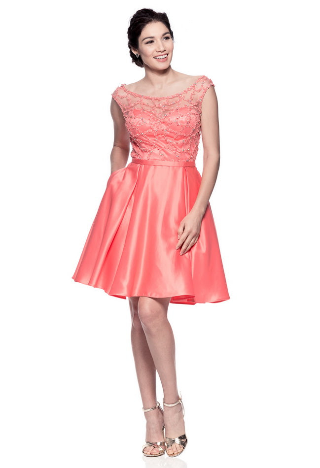 Beautiful Coral Short Evening Dress Prom And Bridal Dress House