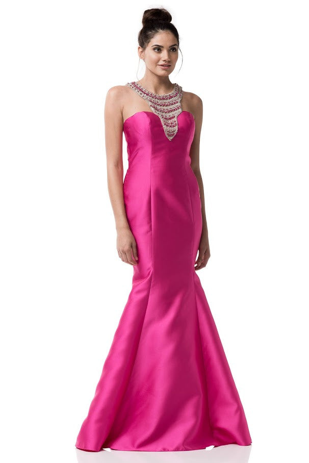 Halter Neck Mermaid Fuchsia Prom Evening Dress