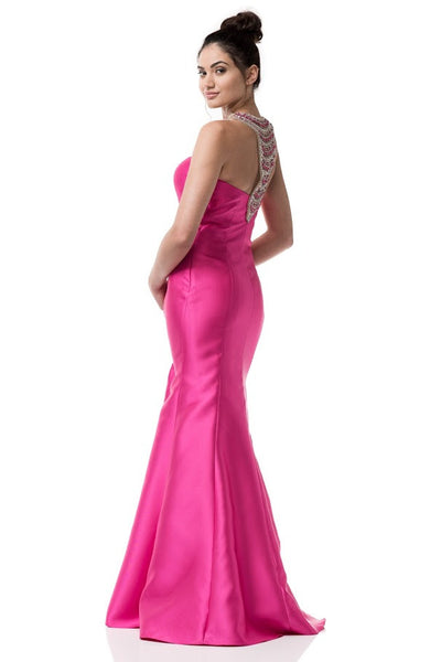Halter Neck Mermaid Fuchsia Prom Evening Dress - Prom And Bridal Dress House