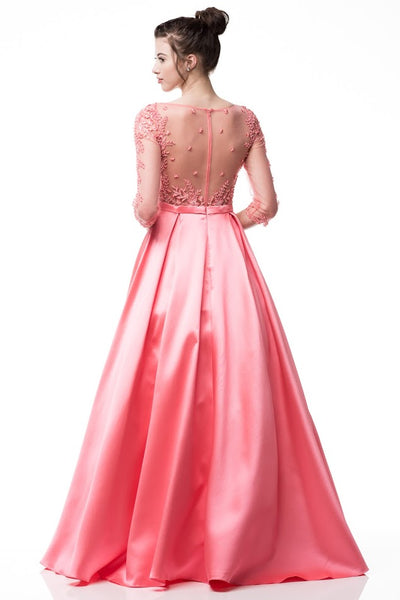 Bateau Neck Long Evening Dress - Prom And Bridal Dress House