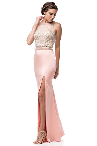 Scoop Neck Long Evening Dress