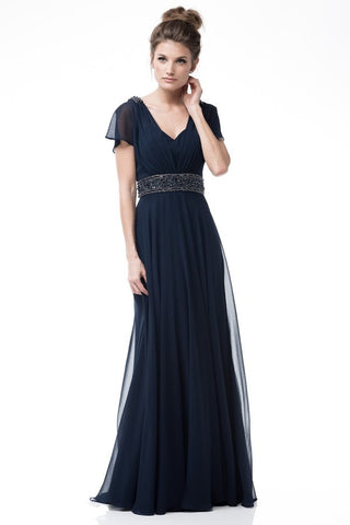 Short Sleeve Sheath Navy Evening Dress