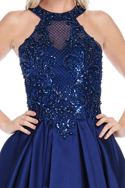Halter Neck Backless Sleeveless A-Line Evening Gown - Prom And Bridal Dress House