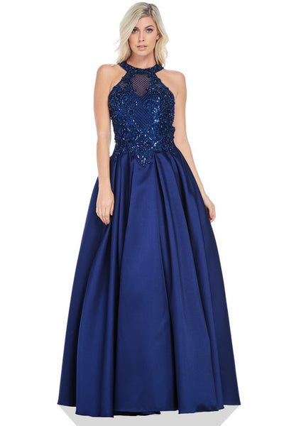 Halter Neck Backless Sleeveless A-Line Evening Gown