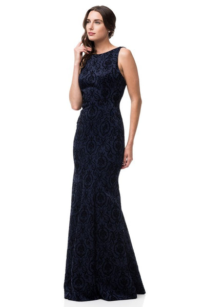 Sleeveless Long Velvet Print Evening Dress - Prom And Bridal Dress House