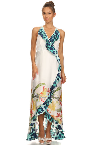 Summer Vacation Tropical Print Maxi Dress - Prom And Bridal Dress House