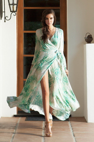 Long Sleeve Maxi Dress Printed - Prom And Bridal Dress House