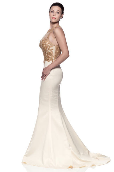 Bateau Neck Backless Trumpet Evening Gown - Prom And Bridal Dress House