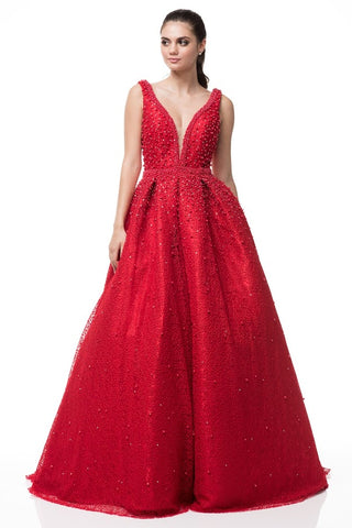 V-Neck Sleeveless Mikado Ball Gown