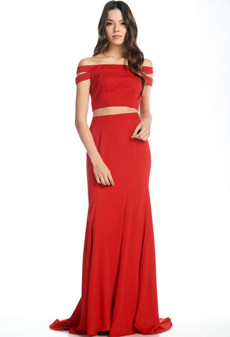 Two Pieces Off Shoulder Red Dress