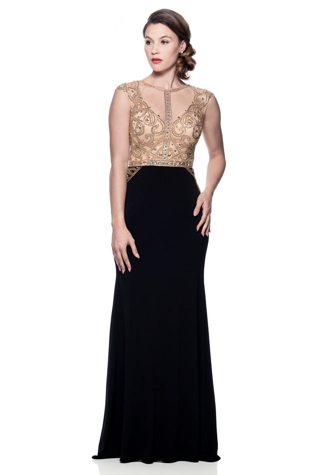 Flawless Black Gold Long Evening Dress - Prom And Bridal Dress House