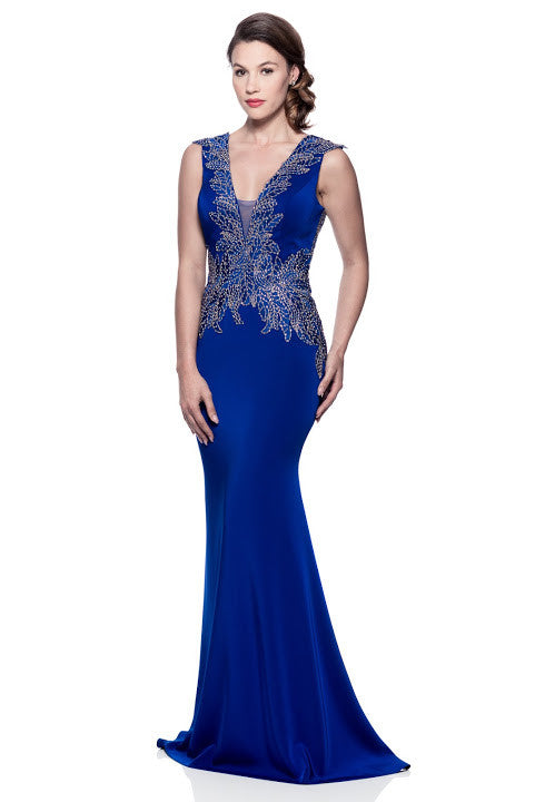 Cap Sleeve V-Neck Trumpet Formal Dress - Prom And Bridal Dress House