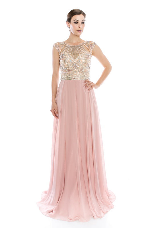 Short Sleeve Long Evening Gown - Prom And Bridal Dress House