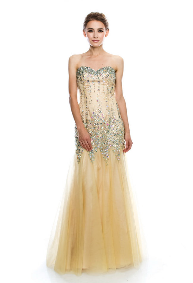 Amazing Gold Long Evening Dress - Prom And Bridal Dress House