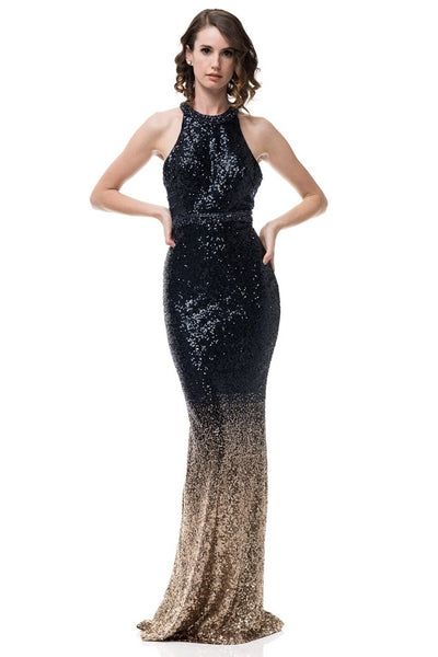 Halter Neck Sleeveless Sequin Navy Gold Evening Dress - Prom And Bridal Dress House