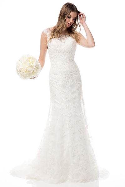 AG Studio Cap Sleeve Mermaid Off White Wedding Dress