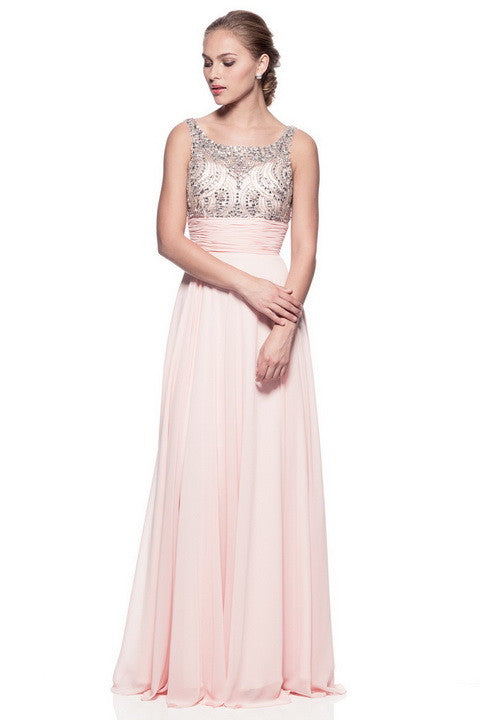 Long Evening Chiffon Dress with Beading and Sequins