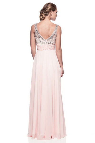 Long Evening Chiffon Dress with Beading and Sequins - Prom And Bridal Dress House