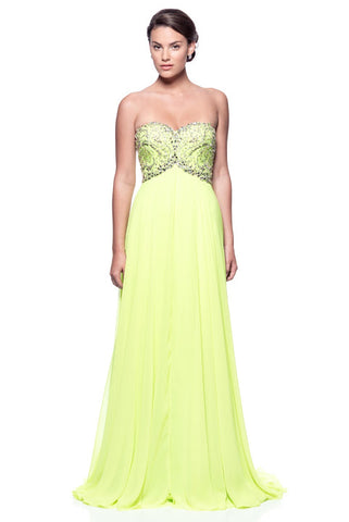 Vibrant Strapless Long Evening Dress