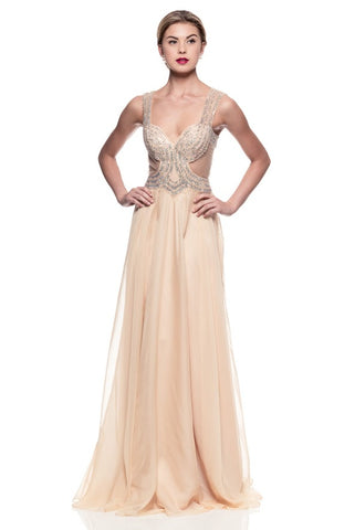 Cream Evening Dresses with sequin details