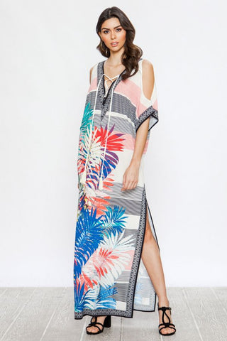 Floral Print Kaftan With Laced V-Neckline and Open Sleeves