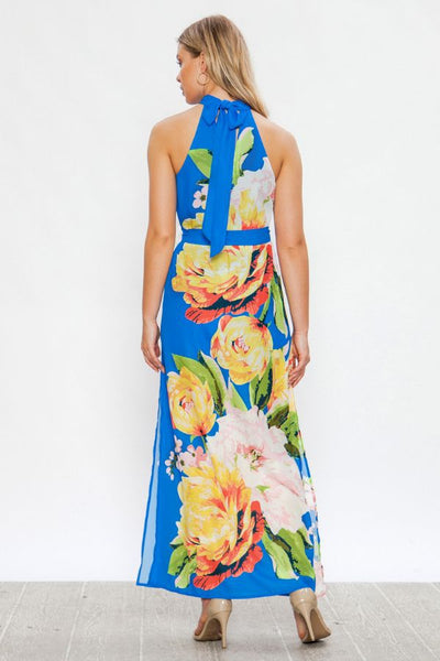 Maxi dress with floral print and optional self tie belt - Prom And Bridal Dress House