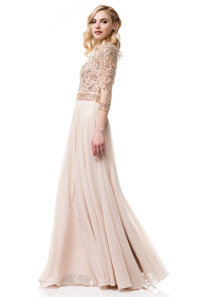 Rose Gold Evening Dress with Sleeves – Prom And Bridal Dress House