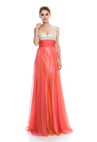 Flawless Coral Long Evening Dress - Prom And Bridal Dress House