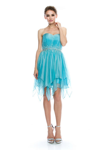 Cute Ice Blue Short Evening Dress - Prom And Bridal Dress House