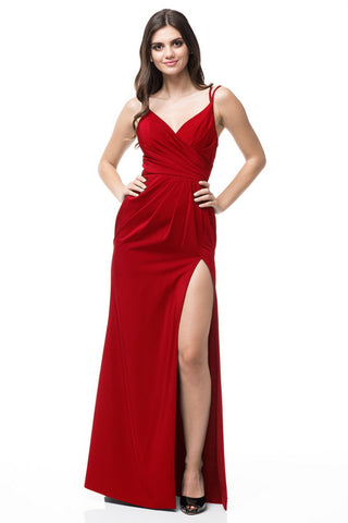 V-Neck Sleeveless Navy AG Studio Evening Dress