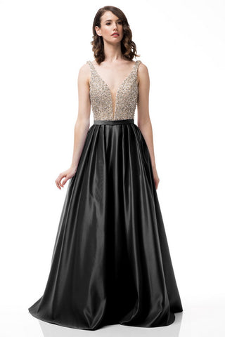 Sleeveless Backless V-Neck Ball Gown
