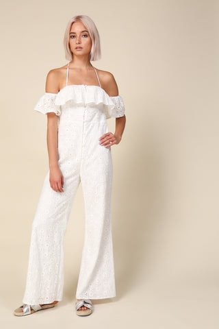 Off Shoulder Embroidered Summer Jumpsuit