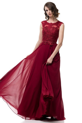Chiffon Burgundy Long Evening Dress