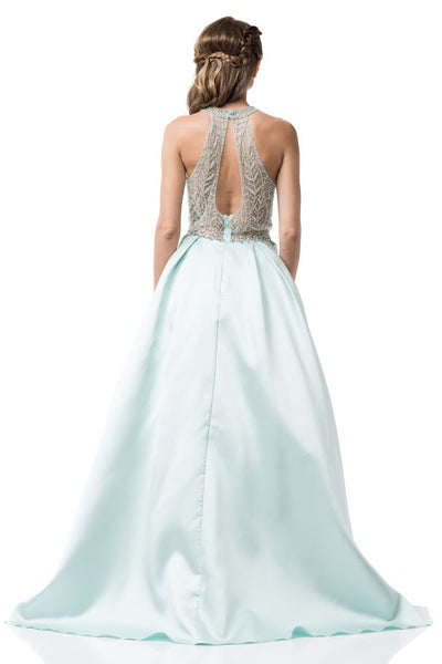 Halter Neck Prom Evening Mint Long Dress - Prom And Bridal Dress House
