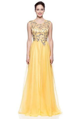 Vibrant Yellow Long Evening Dress