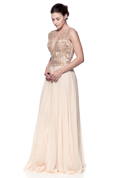 Cap Sleeve Scoop Neck Evening Gown - Prom And Bridal Dress House