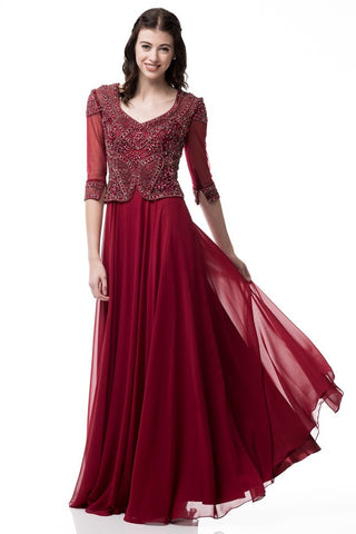 V-Neck 3/4 Sleeve Sheath Evening Dress